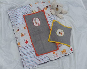 Changing mat cotton with 2 towels animals snap cover