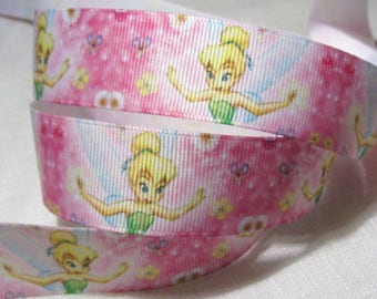 Printed grosgrain Ribbon * 25 mm * fairy Tink pink Pastel - sold by the yard