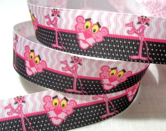 Printed grosgrain Ribbon * 25 mm * the Panther pink - sold by the yard