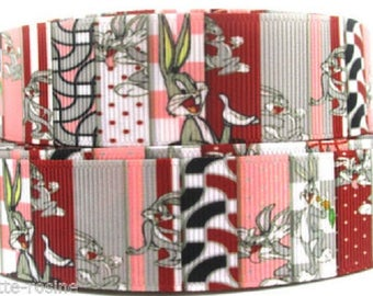 Printed grosgrain Ribbon * 25 mm * rabbit BUNNY PATCHWORK gray pink - sold by the yard