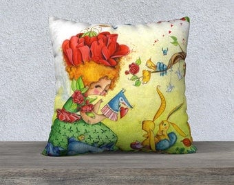 Pillow cover a small spring green 22 x 22 in