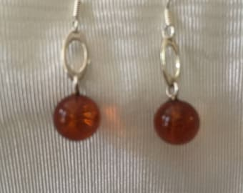 Cognac Baltic Amber Round Dangle Earrings - 925 Sterling Silver