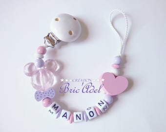 Pacifier clip personalized girl minnie / pacifier personalized name