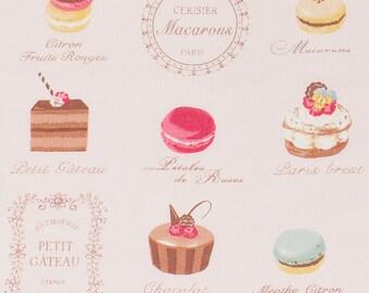 Fabric yuwa macarons powder pink background - beautiful quality cotton Biscuits chocolate treats fashion beautiful Tilda fabric