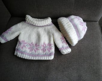 PULLOVER LONG OR DRESS AND BONNET PATTERN DOLL 45 CM