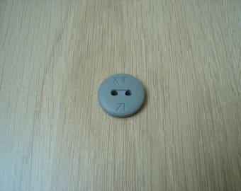 Matte gray shape plastic button round