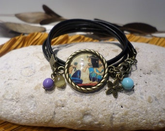 """Bracelet cabochon """"papyrus from Egypt - Cleopatra"""" beige blue leather jewelry original gift women teenager"""