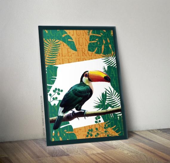 affiche d corative toucan jungle affiche illustration toucan. Black Bedroom Furniture Sets. Home Design Ideas