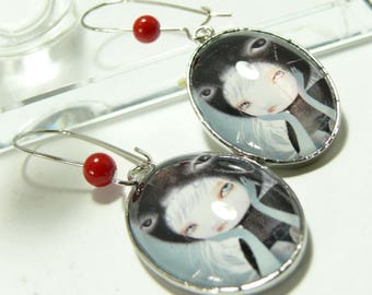 Misty red cat earrings