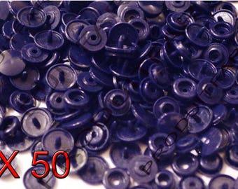 Set of 50 snap resin Kam T5 color Navy Blue 12 mm