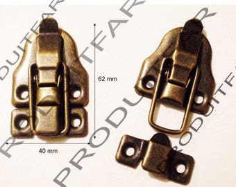 Set of 6 clasps latch lock to close your box treasure chest box 40 X 62 mm screws included