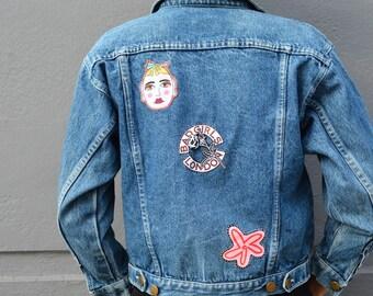 Upcycle vintage denim jacket with patchwork uk8-10