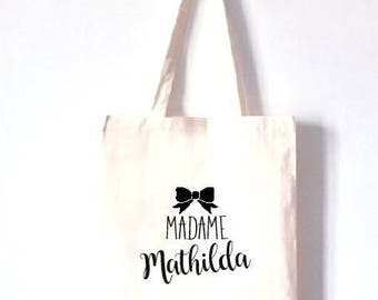 "Personalized TOTE BAG 100% cotton ""Madame"""