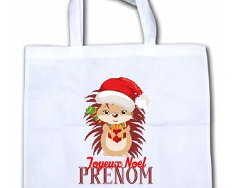 "PERSONALIZED tote bag/tote bag ""Hedgehog Christmas"""