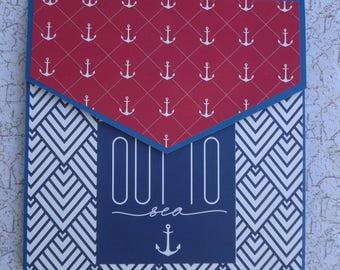 Handmade 6 x 6 inch envelope mini album with a nautical theme