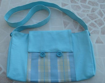 Blue fabric and stripe with flap bag