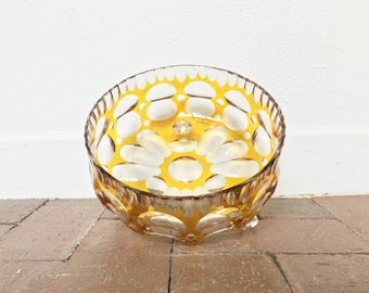 Mid Century Yellow / Clear Glass Decorative Bowl - Vintage