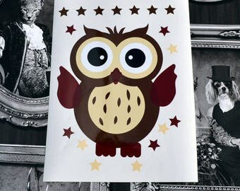 OWL decal: the little OWL is to adopt. Decor kids vinyl sticker