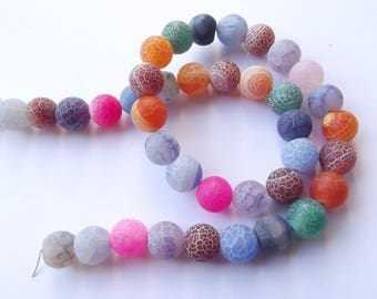 Multicolor agate frosted 10 mm CHEBAR 518 36 smooth round beads