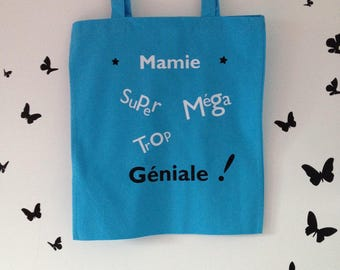 Tote blue bag for Grandma