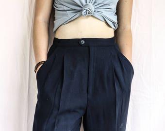 Dark Blue Rayon Cotton Dress Pants: Size 4, Vintage