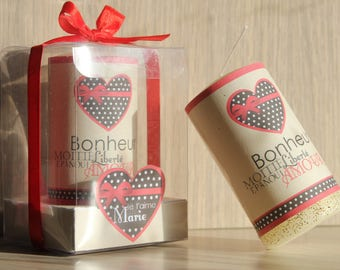 2 candles customized to offer with personal message