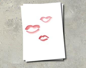 Triple Kiss Postcard