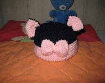 wool baby hat with ears and bow