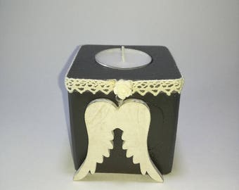 Square candlestick toy anthracite - Angel Wings