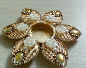 Decorative tea light Holder Home decoration Reception center table piece. Wedding return gift. Diwali decor. Festival decor