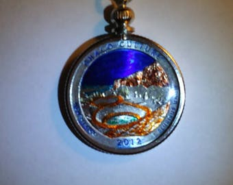 Hand Painted 2012 New Mexico, U.S. Quarter Coin Pendant - Chaco Culture National Park
