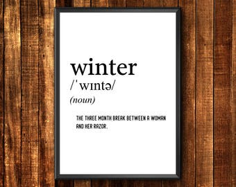 Definition Print | Winter Definition Print | Funny Definition Print | Definition Poster | Funny Printable Wall Art | Definition Printable