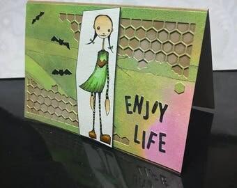 "modern structured bottom ""enjoy life"" bat girl map"