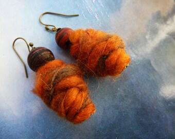 Bohemian earrings ethnic wool and glass