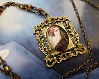 Fantasy painting retro woman necklace