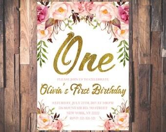 1st Birthday Invitation, Floral First Birthday Invitation, Girl Birthday Invitation, Shabby Chic Floral Birthday Invitation 1092