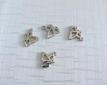 4 pattern silver Butterfly charm pendants
