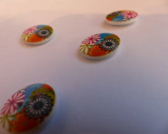 Wooden flower buttons multicolor 18mm