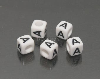30 white cube letter beads has black acrylic 6mm M03116-A