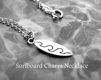 Surfer Necklace - Sterling Silver Surfboard Charm Necklace - Surfer Gift - Surfer Jewelry - Surfboard Jewelry - Surfing Necklace