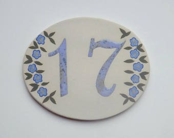 Enamel house number 17 oval shaped, stoneware, Blue Flax flowers resists Frost