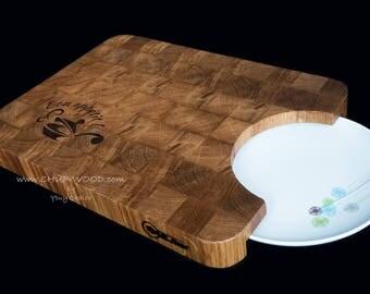 Oak Cutting Board End Grain for plate Gift Birthday present