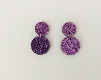 Purple Glitter Double Drop Earrings