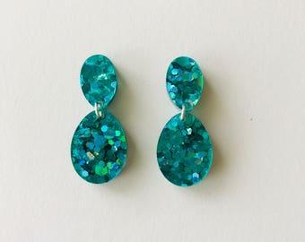 NEW NEW NEW!! Mini Peacock Green Lux Glitter Double Drop Earrings