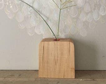 contemporary square vase solid wood / Basswood/gift design /soliflore minimalist geometric