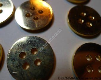 6 antique buttons metal heavy 2.2 cm