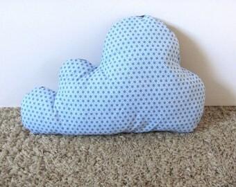 Reversible cotton pattern Asanoha blue cloud cushion