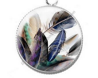 Pendant cabochon resin 25mm feather 2