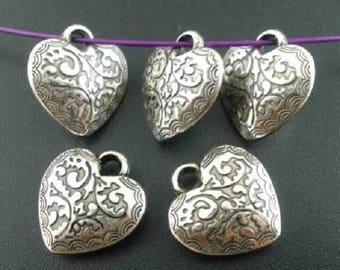 5 Charms made of acrylic heart charms pendants