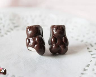 Earring studs - Bear Marshmallow and chocolate (2)